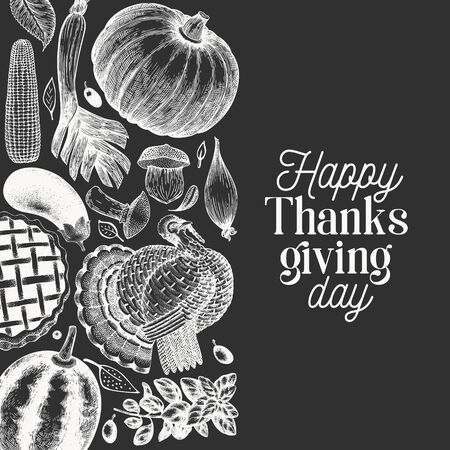 Happy Thanksgiving Day banner. Vector hand drawn illustrations on chalk board. Greeting Thanksgiving design template in vintage style.