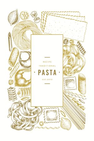 Italian pasta design template. Hand drawn vector food illustration. Engraved style. Retro pasta different kinds background. Stockfoto - 130104905