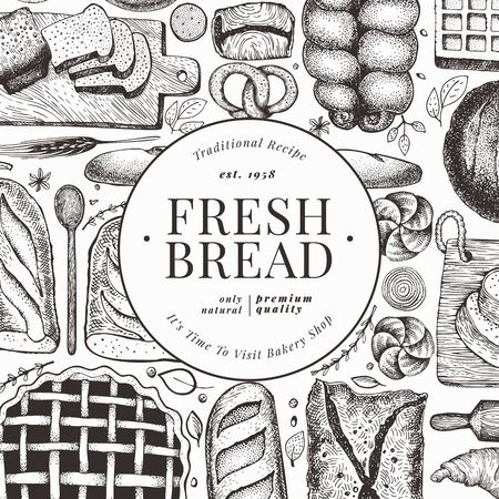 Bread and pastry banner. Vector bakery hand drawn illustration. Retro design template. Vectores