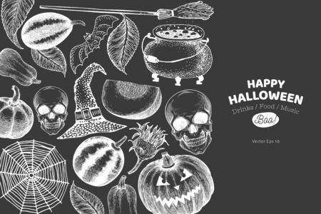 Halloween banner template. Vector hand drawn illustrations on chalk board. Design with pumpkins, skull, cauldron and sunflower vintage style. Autumn background Stok Fotoğraf - 130104910