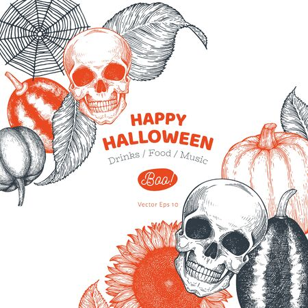 Halloween banner template. Vector hand drawn illustrations. Design with pumpkins, skull, and sunflower vintage style. Autumn background Stok Fotoğraf - 130104913