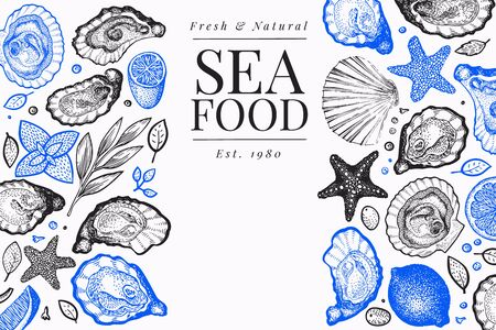Oysters and spices design template. Hand drawn vector illustration. Seafood banner. Can be used for design menu, packaging, recipes, fish market, seafood products.