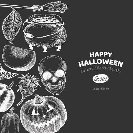 Halloween banner template. Vector hand drawn illustrations on chalk board. Design with pumpkins, skull, cauldron and sunflower vintage style. Autumn background Stok Fotoğraf - 130104946