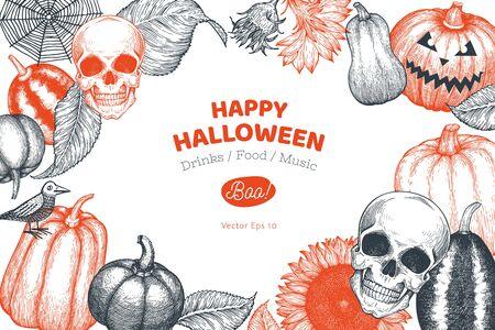 Halloween banner template. Vector hand drawn illustrations. Design with pumpkins, skull, cauldron and sunflower vintage style. Autumn background Stok Fotoğraf - 130105070