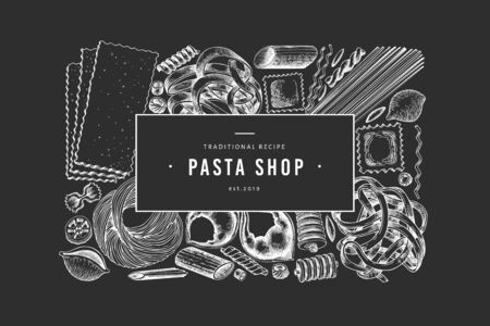 Italian pasta design template. Hand drawn vector food illustration on chalk board. Engraved style. Retro pasta different kinds background. Illustration