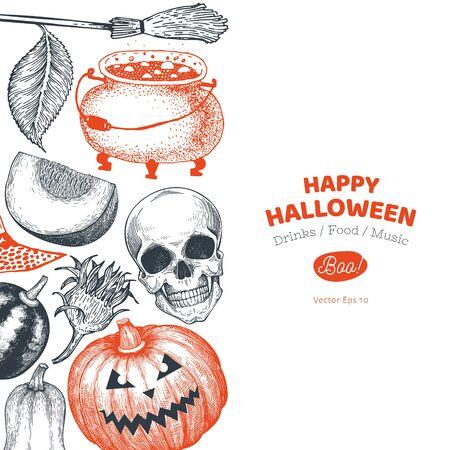 Halloween banner template. Vector hand drawn illustrations. Design with pumpkins, skull, cauldron and sunflower vintage style. Autumn background. Stok Fotoğraf - 130105073