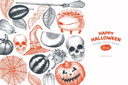 Halloween banner template. Vector hand drawn illustrations. Design with pumpkins, scull, cauldron and sunflower vintage style. Autumn background. Ilustração