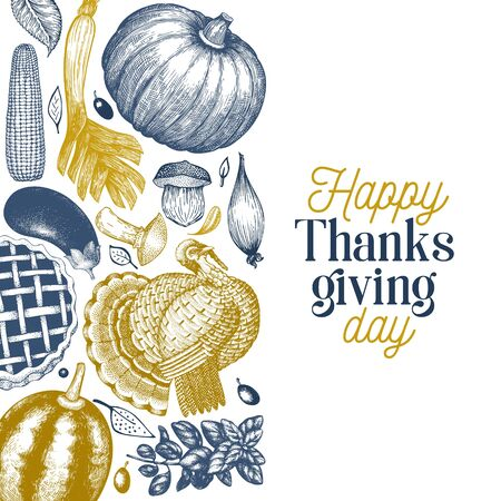 Happy Thanksgiving Day banner. Vector hand drawn illustrations. Greeting Thanksgiving design template in vintage style. 일러스트