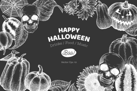 Halloween banner template. Vector hand drawn illustrations on chalk board. Design with pumpkins, scull, cauldron and sunflower vintage style. Autumn background.