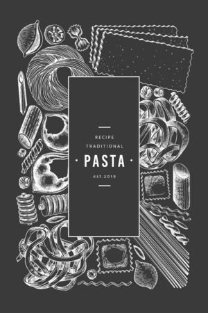 Italian pasta design template. Hand drawn vector food illustration on chalk board. Engraved style. Retro pasta different kinds background. Stock Illustratie
