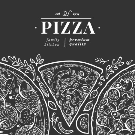 Vector Italian pizza banner template. Hand drawn retro illustration on chalk board. Italian food design. Can be use for menu, packaging, adversiting for caffe, restaurant, pizzeria 向量圖像