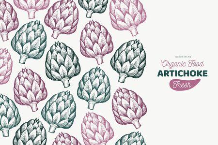 Artichoke vegetable design template. Hand drawn vector food illustration. Engraved style vegetable frame. Vintage botanical banner. Ilustração