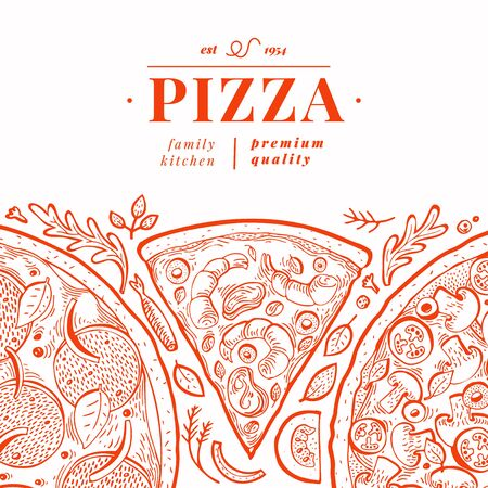 Vector Italian pizza banner template. Hand drawn retro illustration. Italian food design. Can be use for menu, packaging, adversiting for caffe, restaurant, pizzeria
