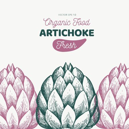 Artichoke vegetable design template. Hand drawn vector food illustration. Engraved style vegetable frame. Vintage botanical banner. Çizim