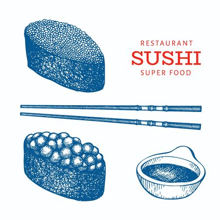 Sushi gunkan hand drawn vector illustrations. Japanese cuisine elements vintage style. Asian food background. Ilustrace