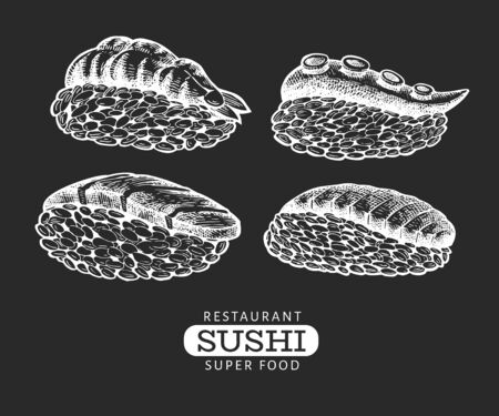 Sushi nigiri hand drawn vector illustrations on chalk board. Japanese cuisine elements vintage style. Asian food background.