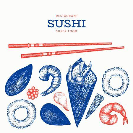 Sushi roll temaki hand drawn vector illustration. Japanese cuisine elements vintage style. Asian food bento set background