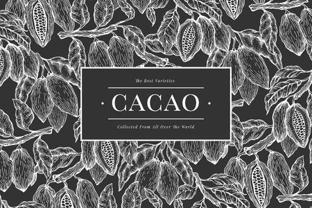Cocoa banner template. Chocolate cocoa beans background. Vector hand drawn illustration on chalk board. Retro style illustration.