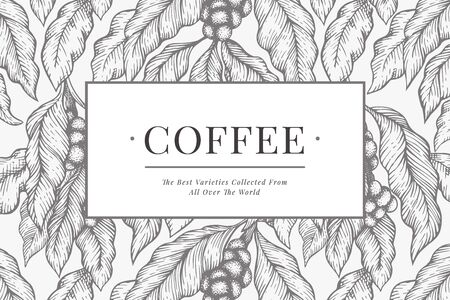 Coffee vector design template. Retro coffee background. Hand drawn engraved style illustration.