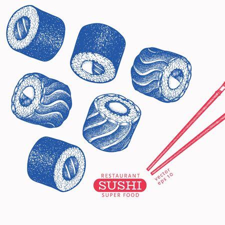 Sushi hand drawn vector illustrations. Japanese cuisine elements vintage style. Asian food background. Çizim
