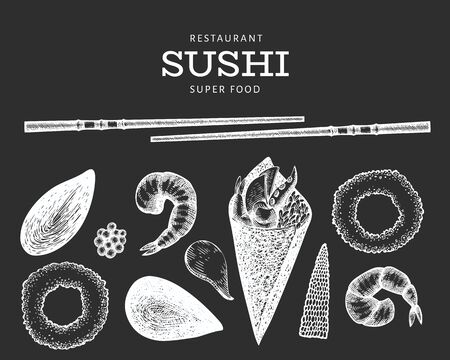 Sushi roll temaki hand drawn vector illustration on chalk board. Japanese cuisine elements vintage style. Asian food bento set background