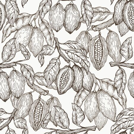 Cocoa vector seamless pattern. Chocolate cocoa beans background. Vector hand drawn illustration. Retro style illustration.