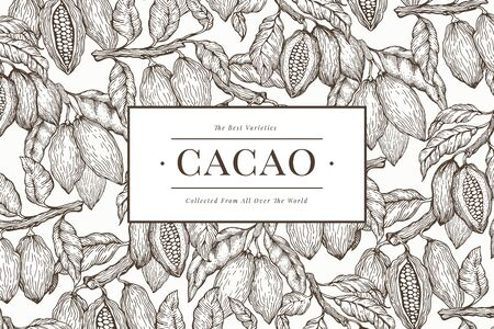Cocoa banner template. Chocolate cocoa beans background. Vector hand drawn illustration. Retro style illustration.