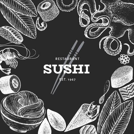 Modèle de conception de cuisine japonaise. Illustration vectorielle de sushi dessinés à la main à bord de la craie. Fond de cuisine sian de style vintage.