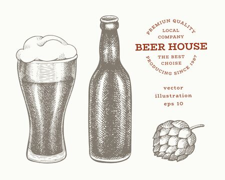 Beer bottle, glass and hop illustration. Hand drawn vector pub beverage illustration. Engraved style. Vintage brewery illustration. Иллюстрация
