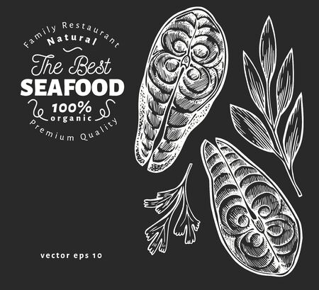 Fish steaks illustrations. Hand drawn vector seafood illustration on chalk board. Engraved style. Retro food, piece of salmon or trout Иллюстрация