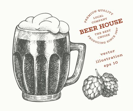 Beer glass mug and hop illustration. Hand drawn vector pub beverage illustration. Engraved style. Vintage brewery illustration. Иллюстрация