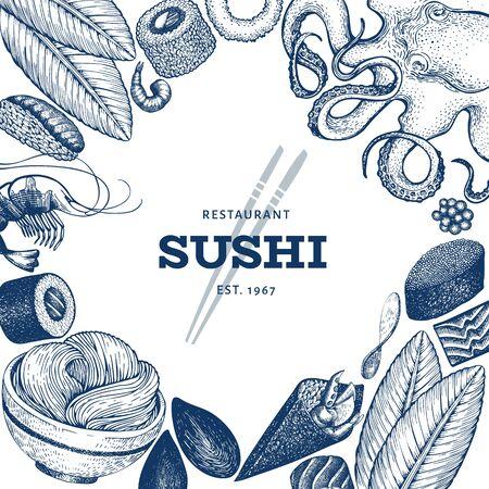Japanese cuisine design template. Sushi hand drawn vector illustrations. Vintage style sian food background. Illustration