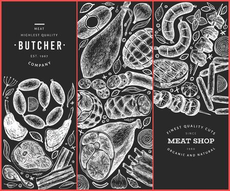 Set of three meat products design templates. Vector hand drawn ham, sausages, steaks, jamon, spices and herbs. Vintage illustrations on chalk board. Can be use for label, restaurant menu.