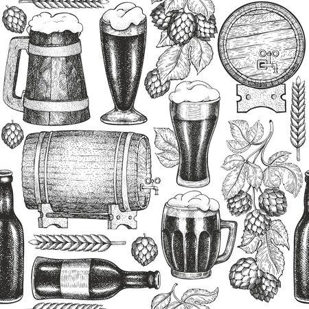 Beer glass mug and hop seamless pattern. Hand drawn vector pub beverage illustration. Engraved style. Vintage brewery illustration. Çizim