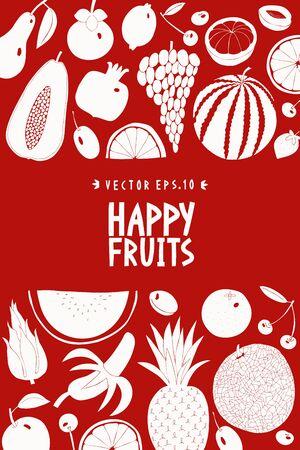Scandinavian hand drawn fruit design template. Vector illustrations. Fruits background. Linocut style. Healthy food. Çizim
