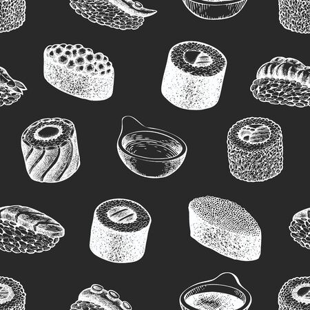 Sushi seamless pattern. Japanese cuisine hand drawn vector illustrations on chalk board. Traditional asian food background.