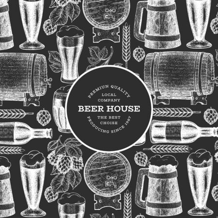 Beer glass mug and hop design template. Hand drawn vector pub beverage illustration on chalk board. Engraved style. Vintage brewery illustration.