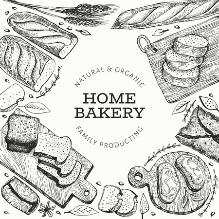 Bread and pastry banner. Vector bakery hand drawn illustration. Retro design template. Çizim