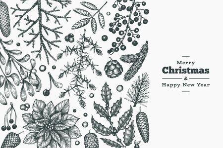 Christmas hand drawn vector greeting card template. Botanical design. Retro style illustration