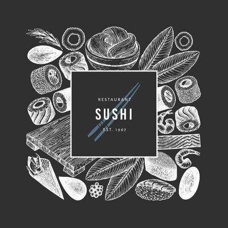 Japanese cuisine design template. Sushi hand drawn vector illustration on chalk board. Vintage style asian food background. 写真素材 - 132925733