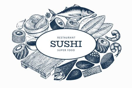 Japanese cuisine banner template. Sushi hand drawn vector illustrations. Vintage style asian food background.