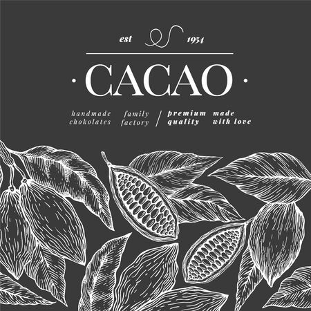 Cocoa banner template. Vector hand drawn illustration on chalk board. Chocolate cocoa beans background. Retro style illustration.