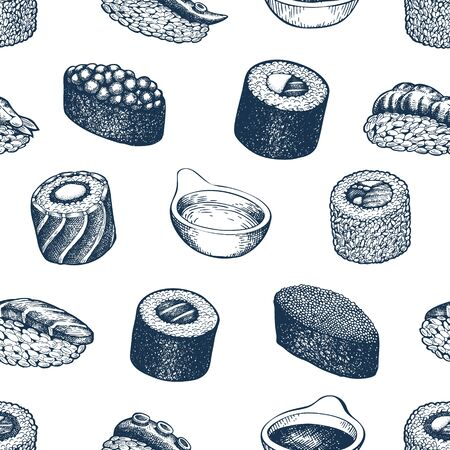 Sushi seamless pattern. Japanese cuisine hand drawn vector illustrations. Traditional asian food background.