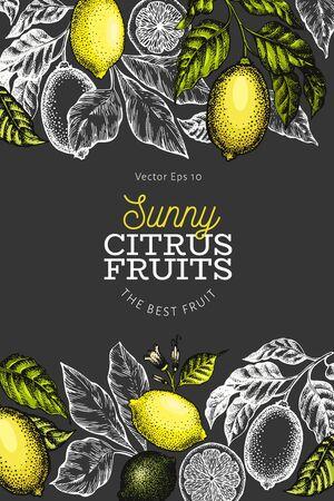 Lemon tree banner template. Hand drawn vector fruit illustration on dark background. Engraved style frame. Retro citrus background.