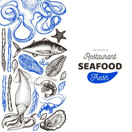 Seafood and fish design template. Hand drawn vector illustration. Can be used for design menu, packaging, recipes, label, fish market, seafood products. Çizim