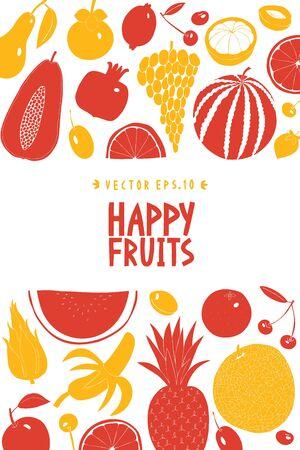 Scandinavian hand drawn fruit design template. Vector illustrations. Fruits background. Linocut style. Healthy food. Ilustracja