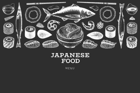 Japanese cuisine design template. Sushi hand drawn vector illustration on chalk board. Vintage style asian food background.