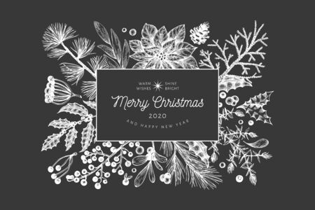 Christmas hand drawn vector greeting card template. Botanical design. Retro style illustration on chalk board Çizim