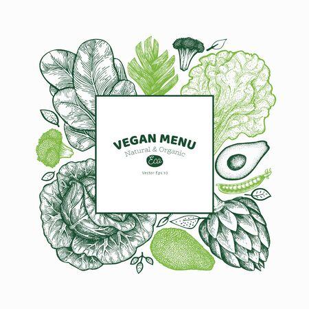 Green vegetable design template. Hand drawn vector food illustration. Engraved style vegetable banner. Vintage botanical design.