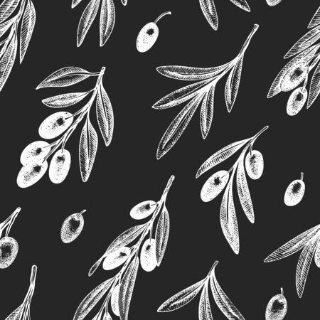 Olive branch seamless pattern. Hand drawn vector food illustration on chalk board. Engraved style mediterranean plant background. Vintage botanical illustration.